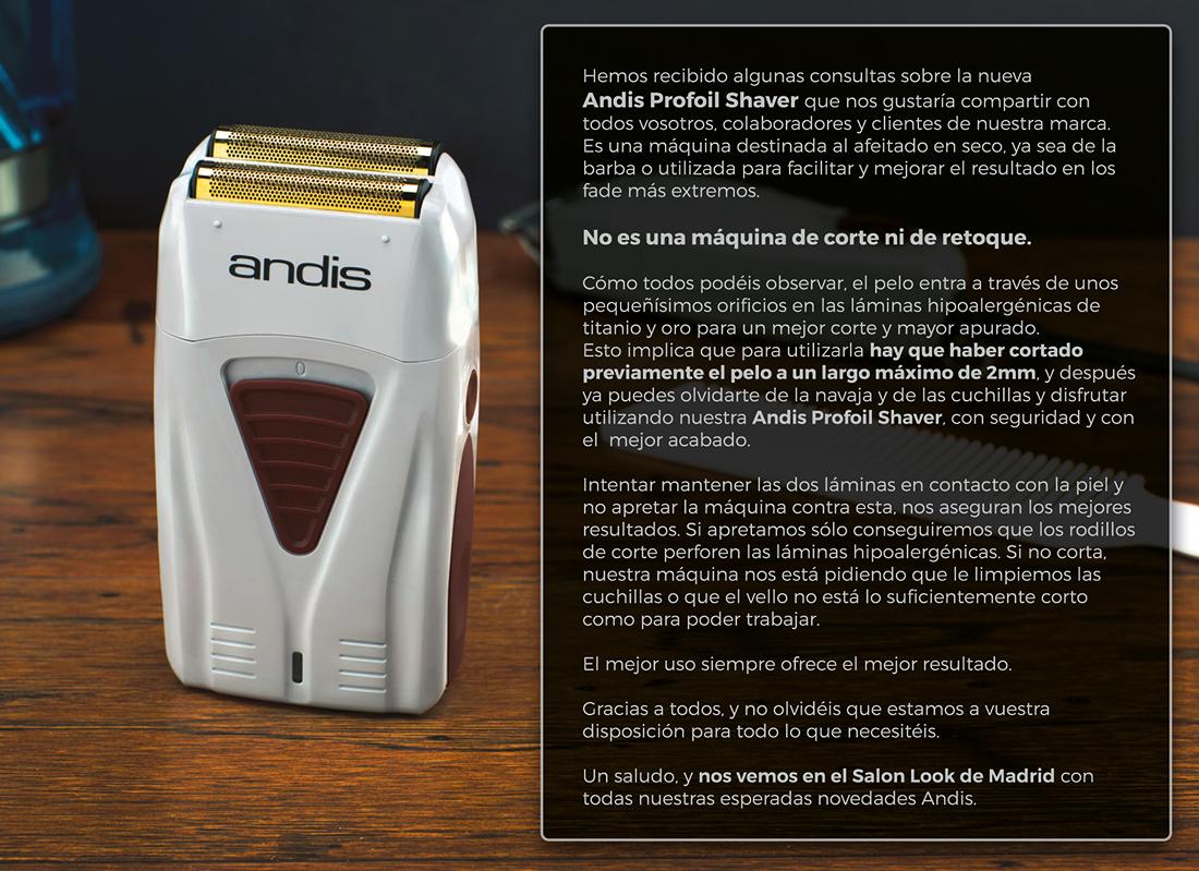Recomendaciones de uso Andis PROFOIL LITHIUM SHAVER 58c68c7d406d